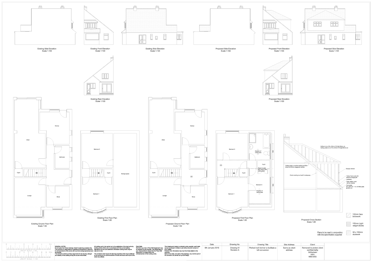 Pitched roof loft conversion to a bungalow Mixed Plans ...